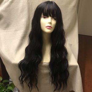 Human hair blend black Wig